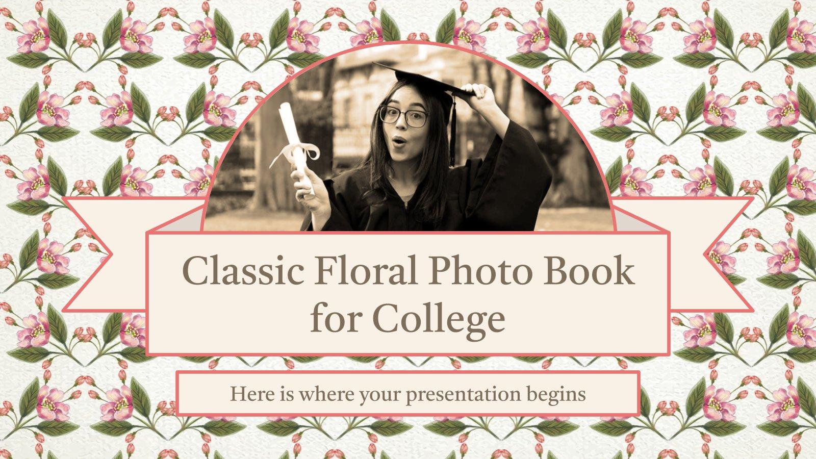 Plantilla de presentación Álbum de fotos floral clásico para la universidad