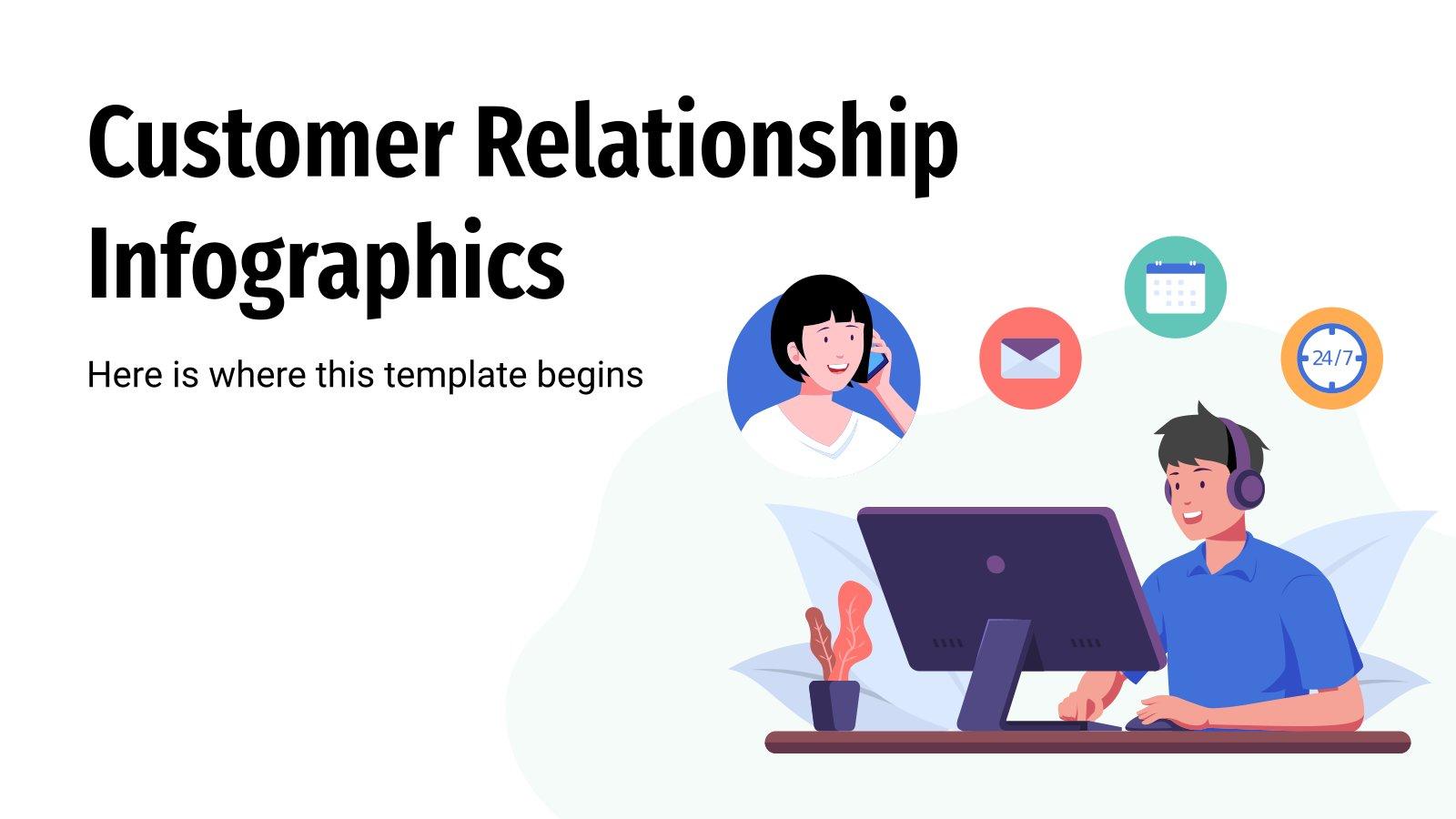 Modelo de apresentação Infográficos de relacionamento com o cliente