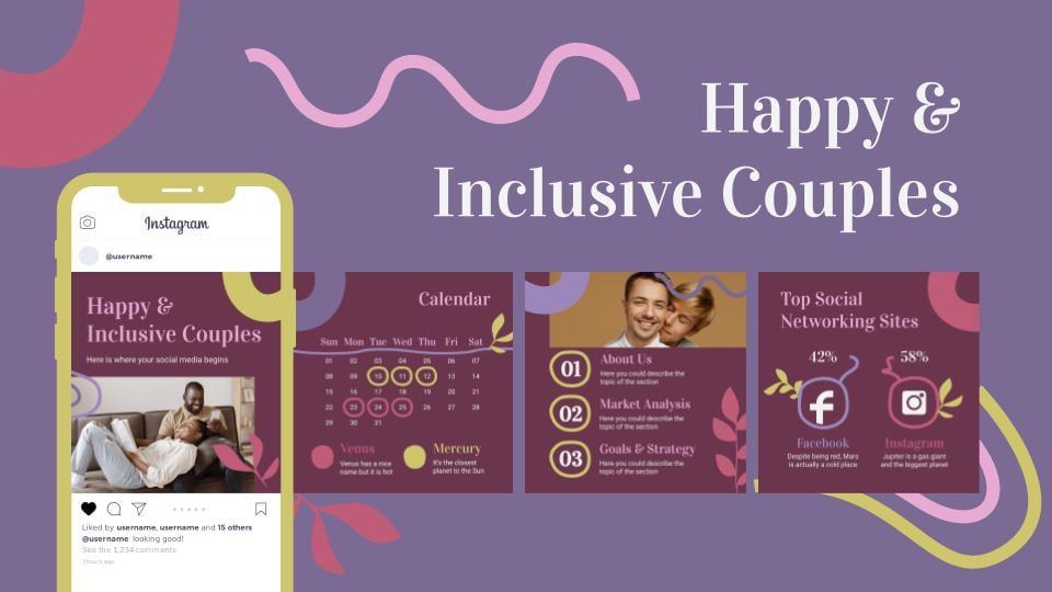 Modelo de apresentação Casais felizes e inclusivos para mídias sociais