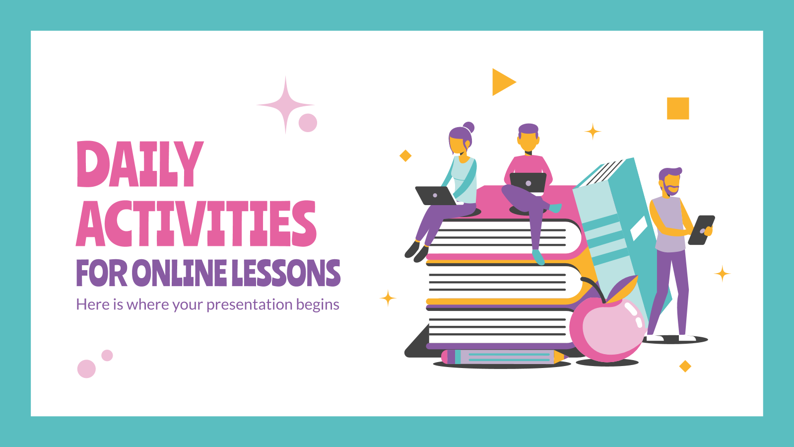 Daily Activities for Online Lessons presentation template