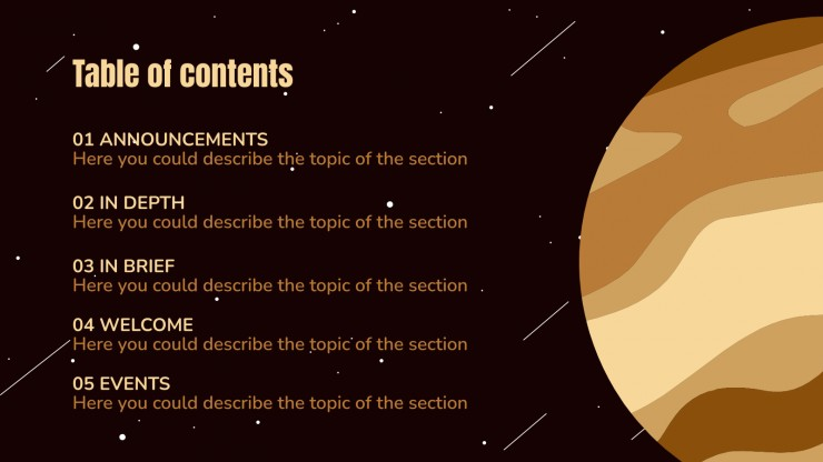 Newsletter sur les dunes de l'espace : Modèles de présentation