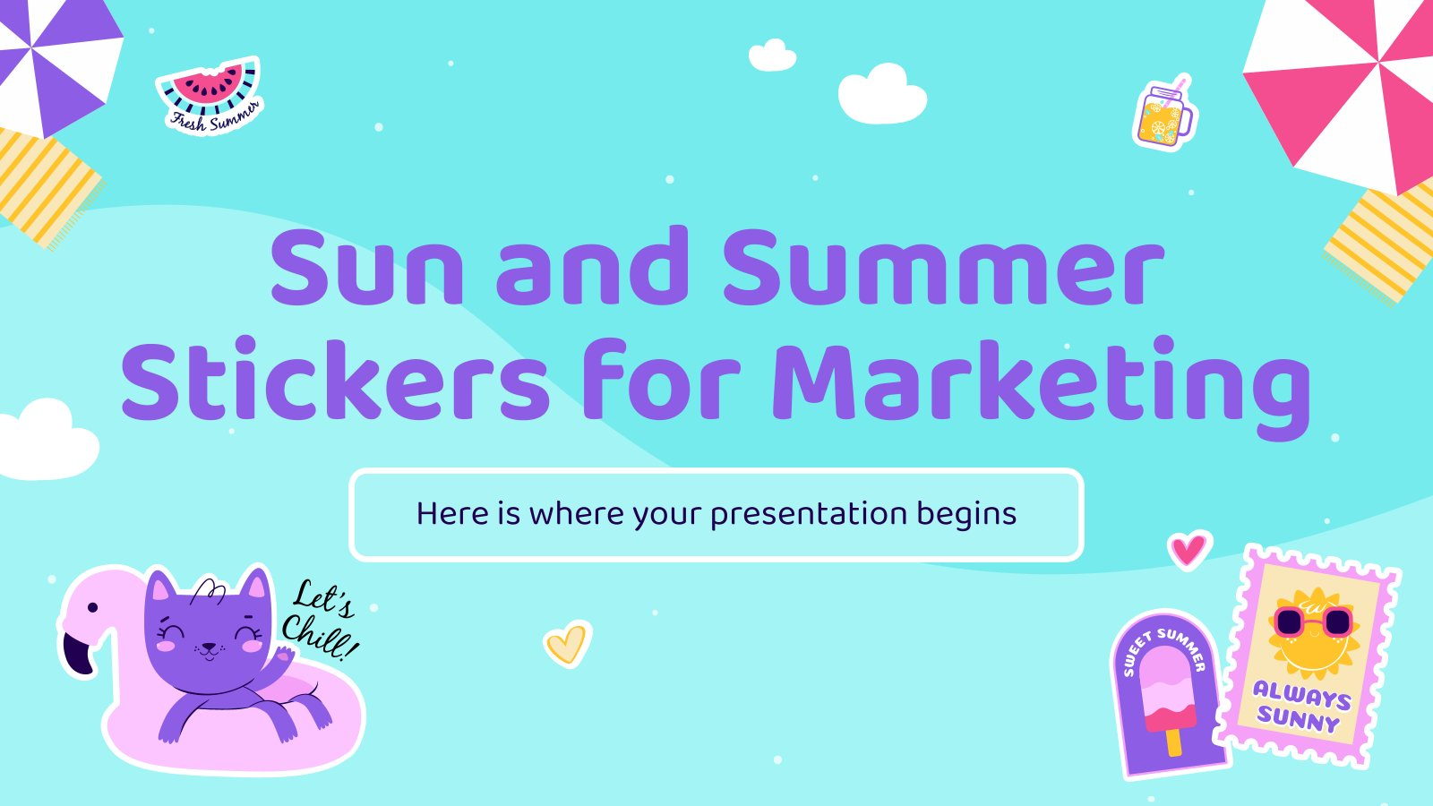 Sun and Summer Stickers for Marketing presentation template