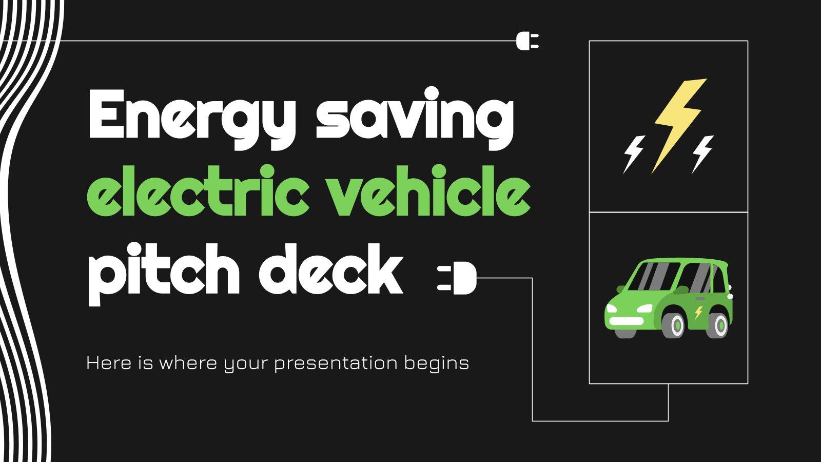 Modelo de apresentação Pitch deck de veículo elétrico de baixo consumo