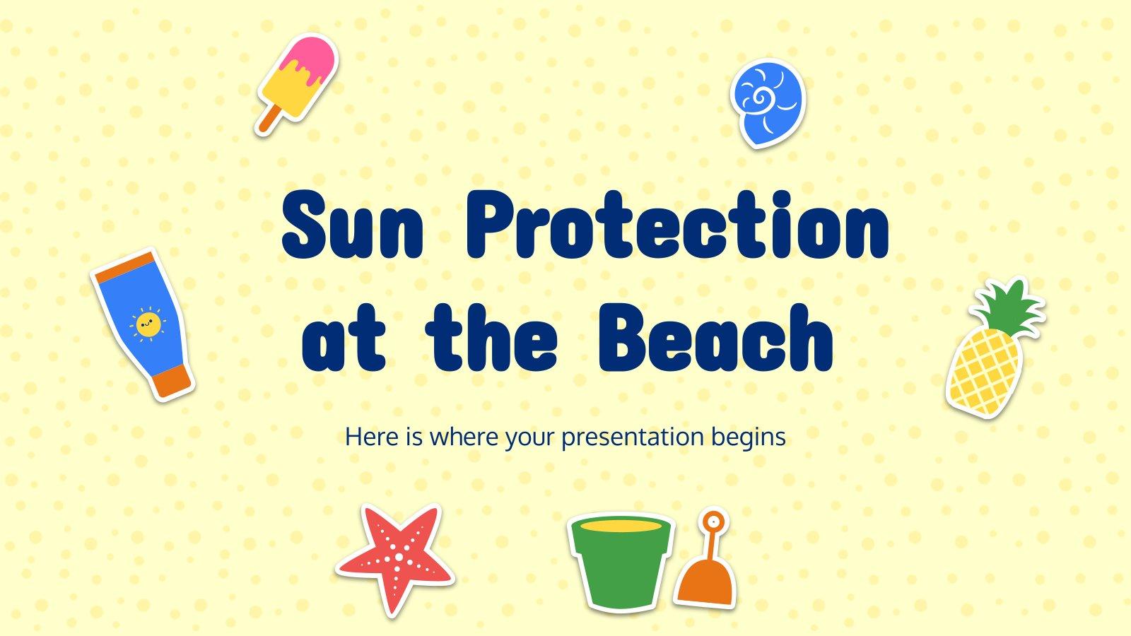 Plantilla de presentación Protección solar en la playa
