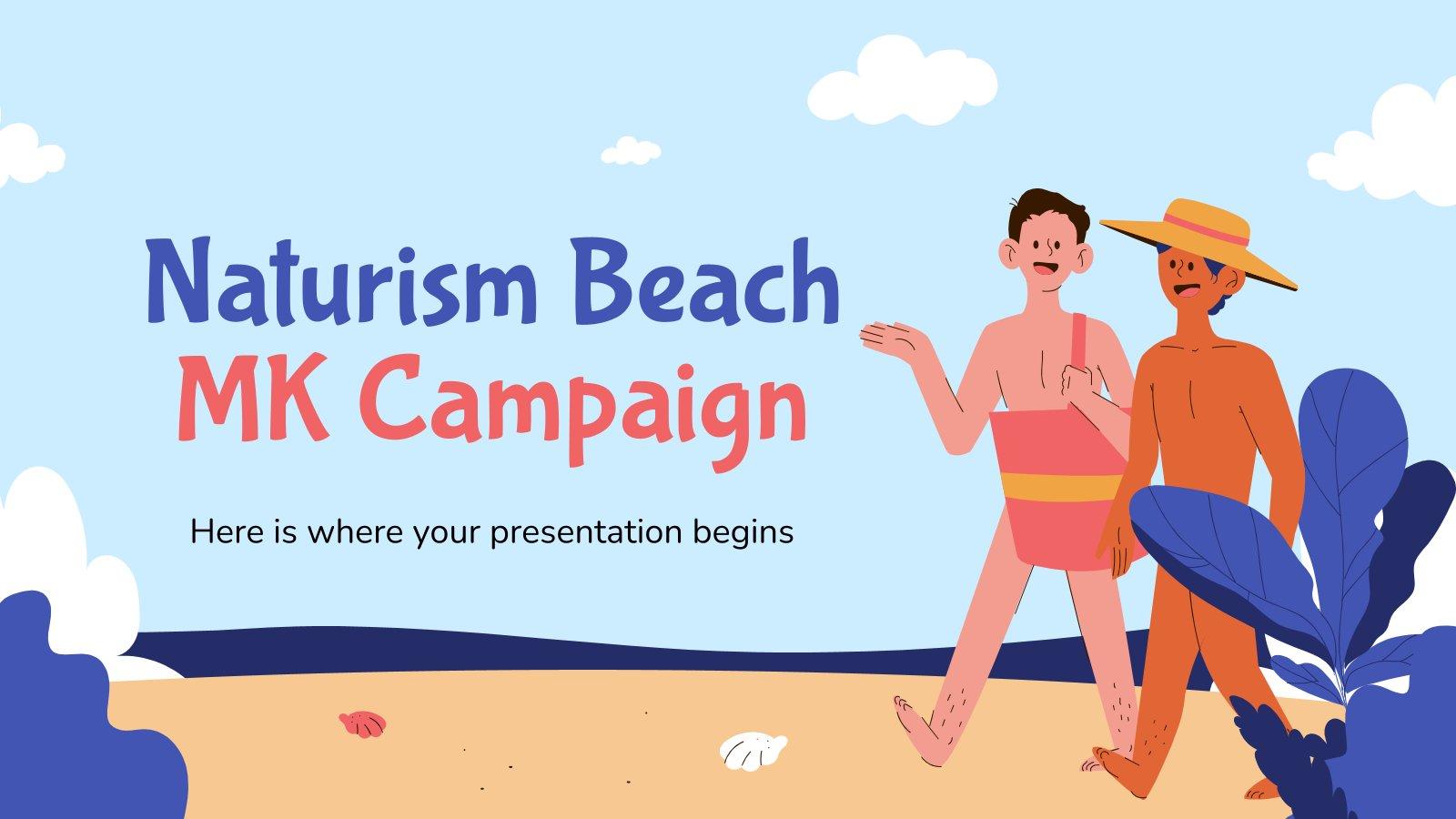 Modelo de apresentação Campanha de marketing praia de naturismo