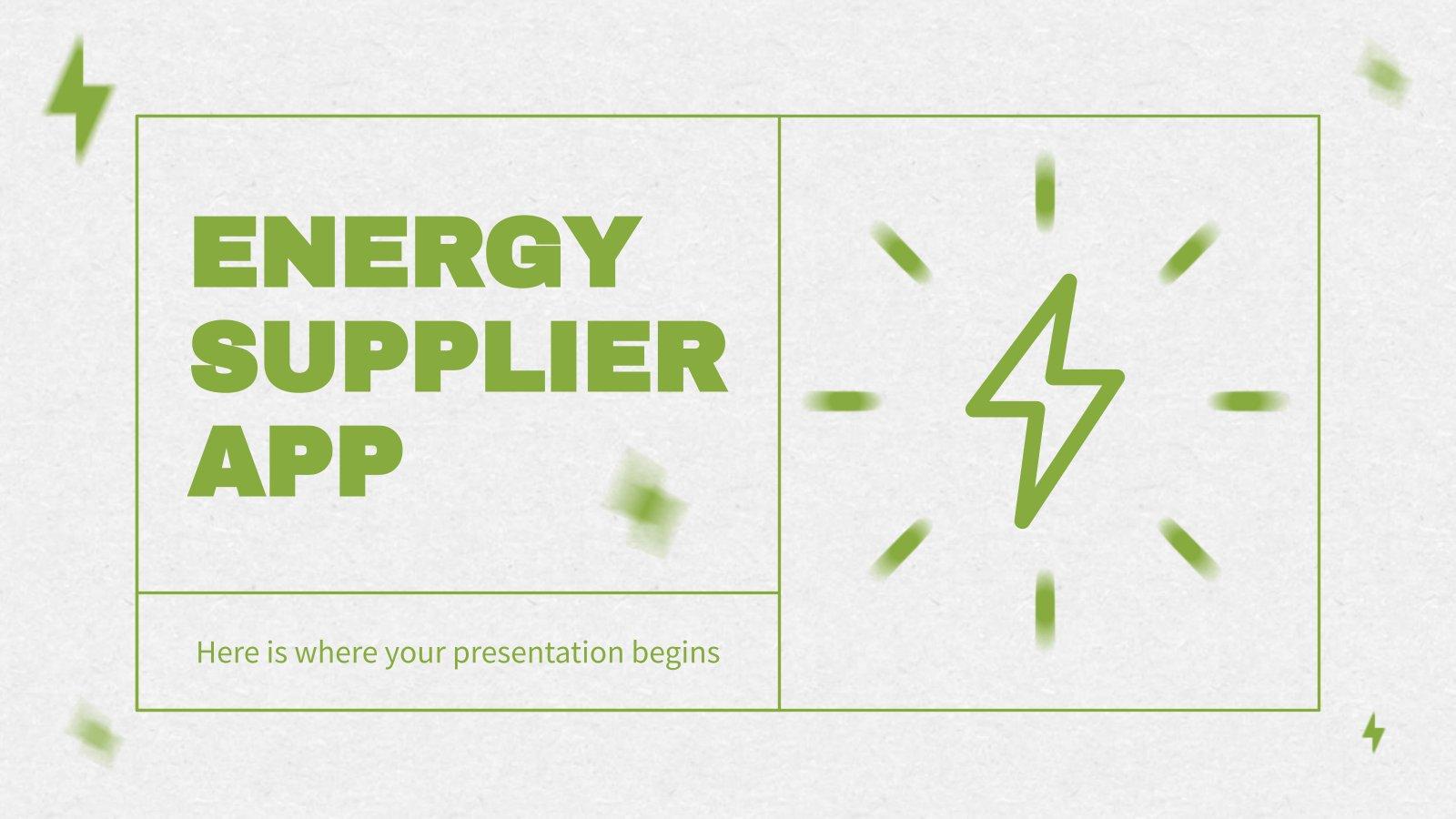 Modelo de apresentação App do fornecedor de energia