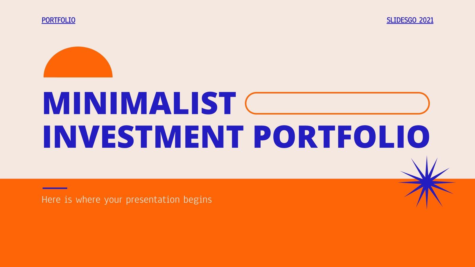 Modelo de apresentação Portfólio minimalista de investimentos