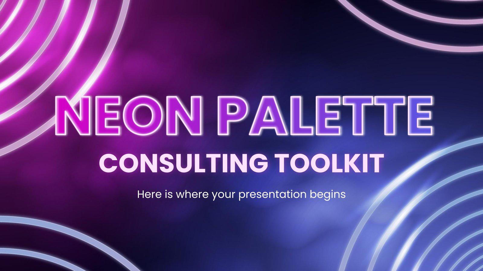 Modelo de apresentação Kit de ferramentas de consultoria de paleta néon