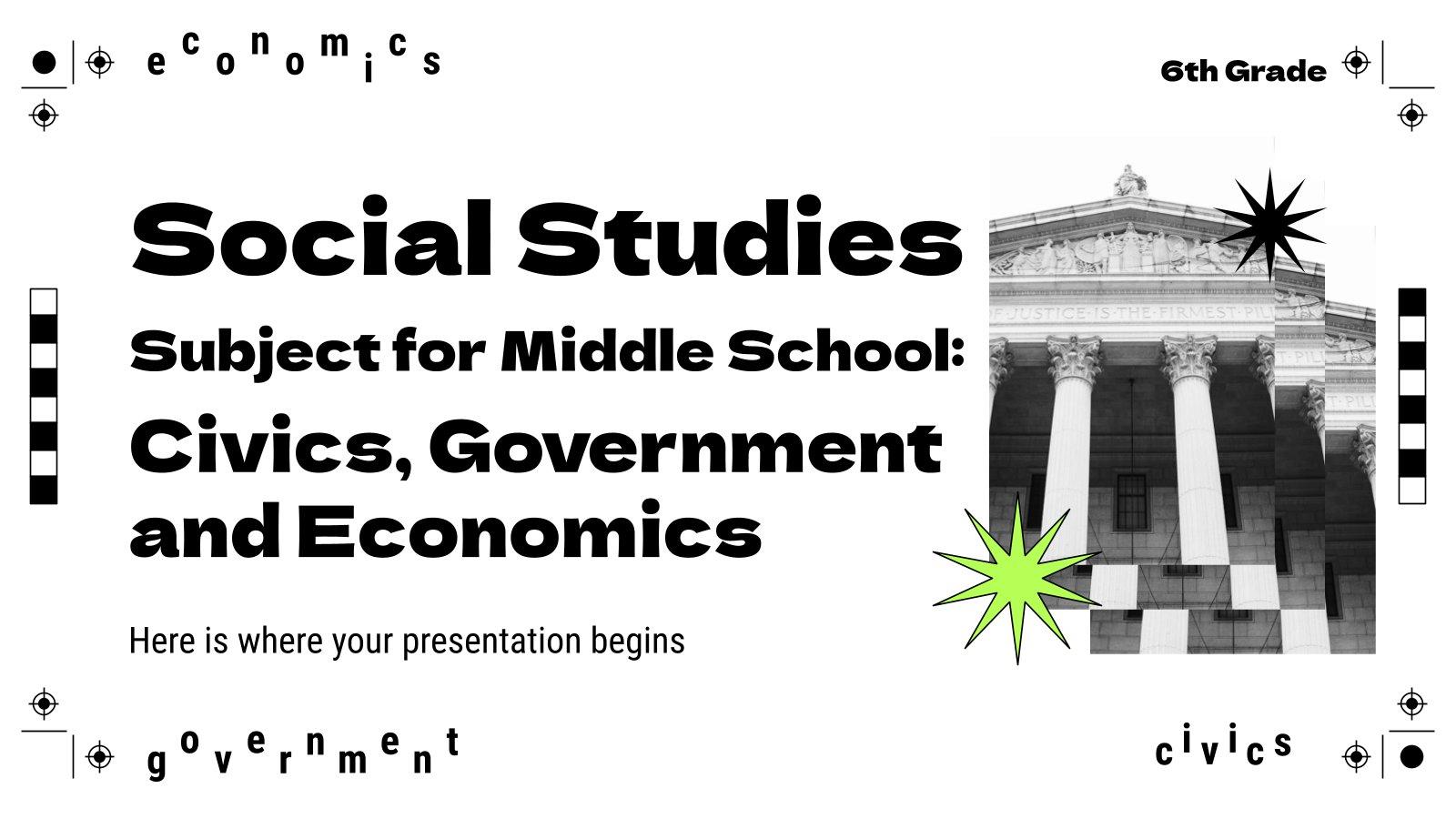 Plantilla de presentación Estudios Sociales para primaria: Civismo, gobierno y economía