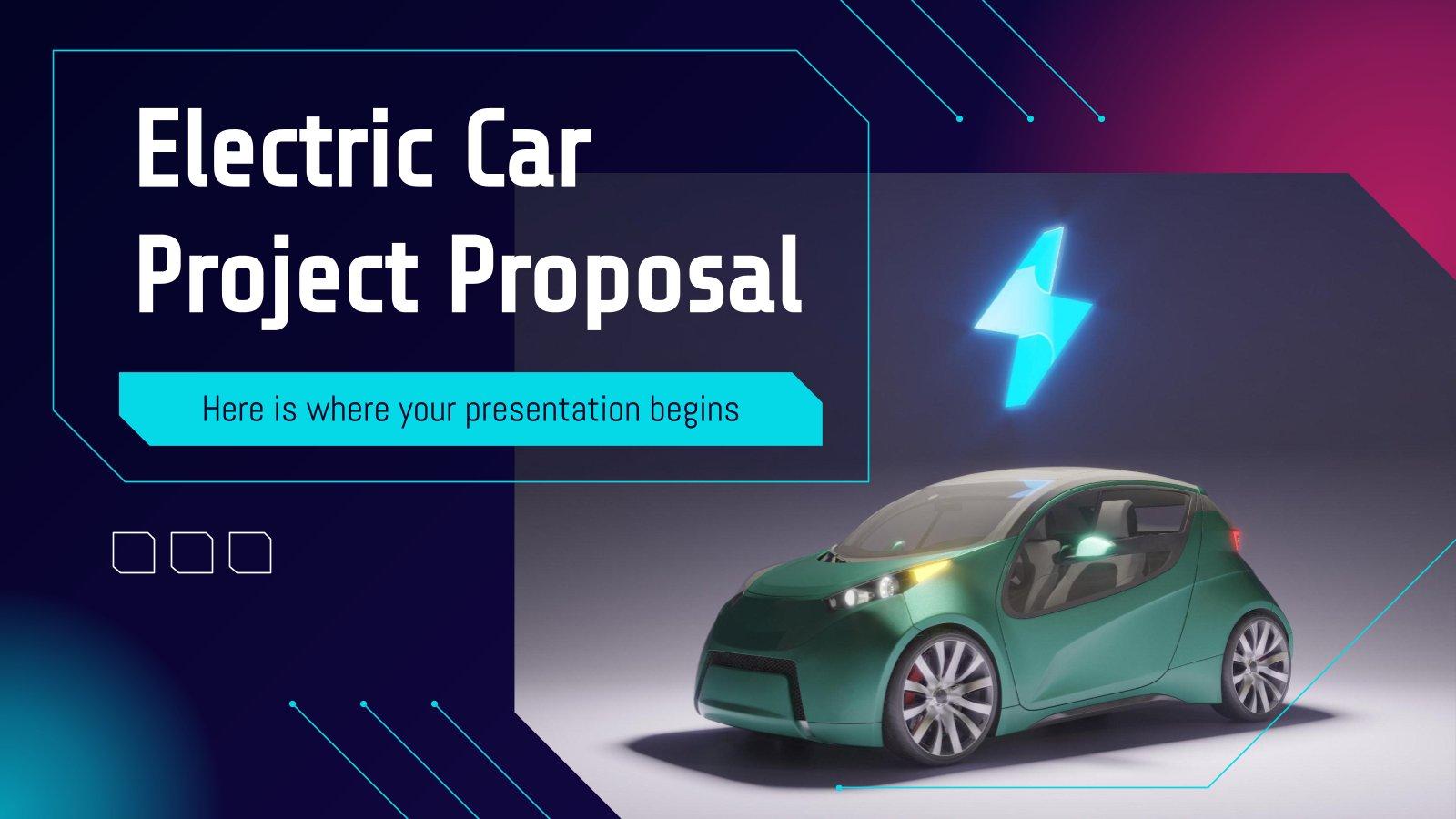 Plantilla de presentación Propuesta de proyecto de coche eléctrico