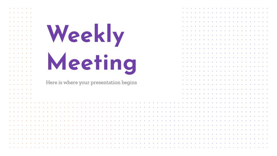 Plantilla de presentación Reunión semanal