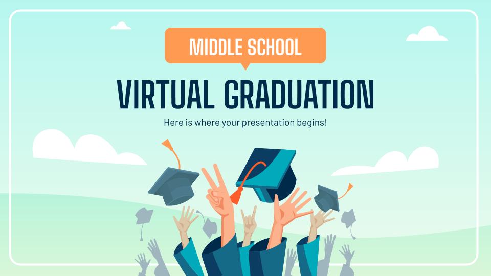 Plantilla de presentación Graduación virtual de secundaria