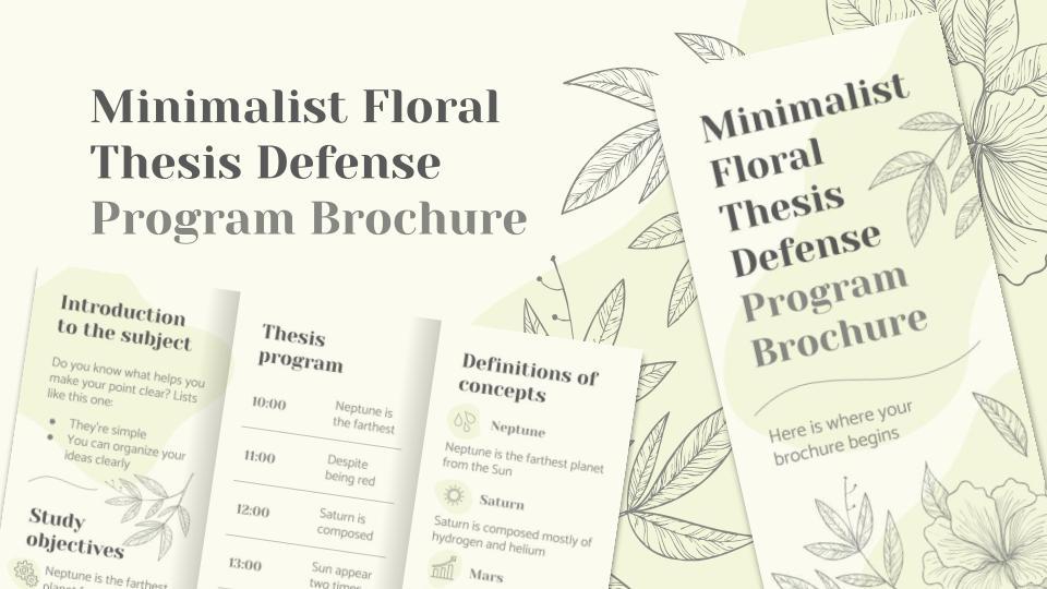 Minimalist Floral Thesis Defense Program Brochure presentation template