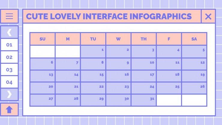 Niedliche schöne Interface Infografiken Präsentationsvorlage
