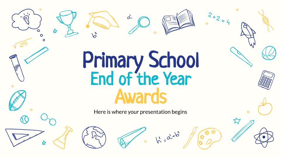 Plantilla de presentación Premios fin de curso: primaria