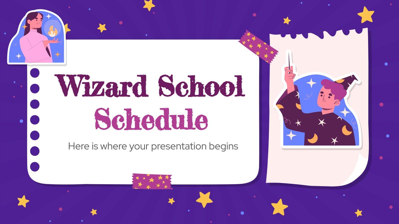 Agenda de l'école du magicien : Modèles de présentation