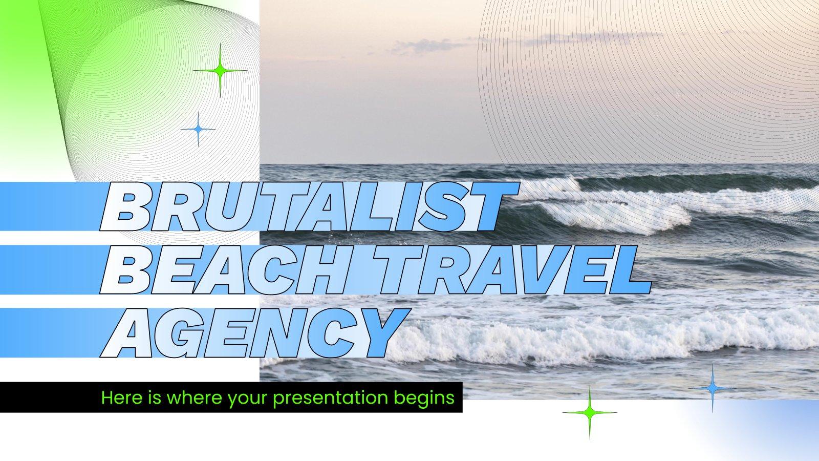 Plantilla de presentación Agencia de viajes a la playa de estilo brutalista
