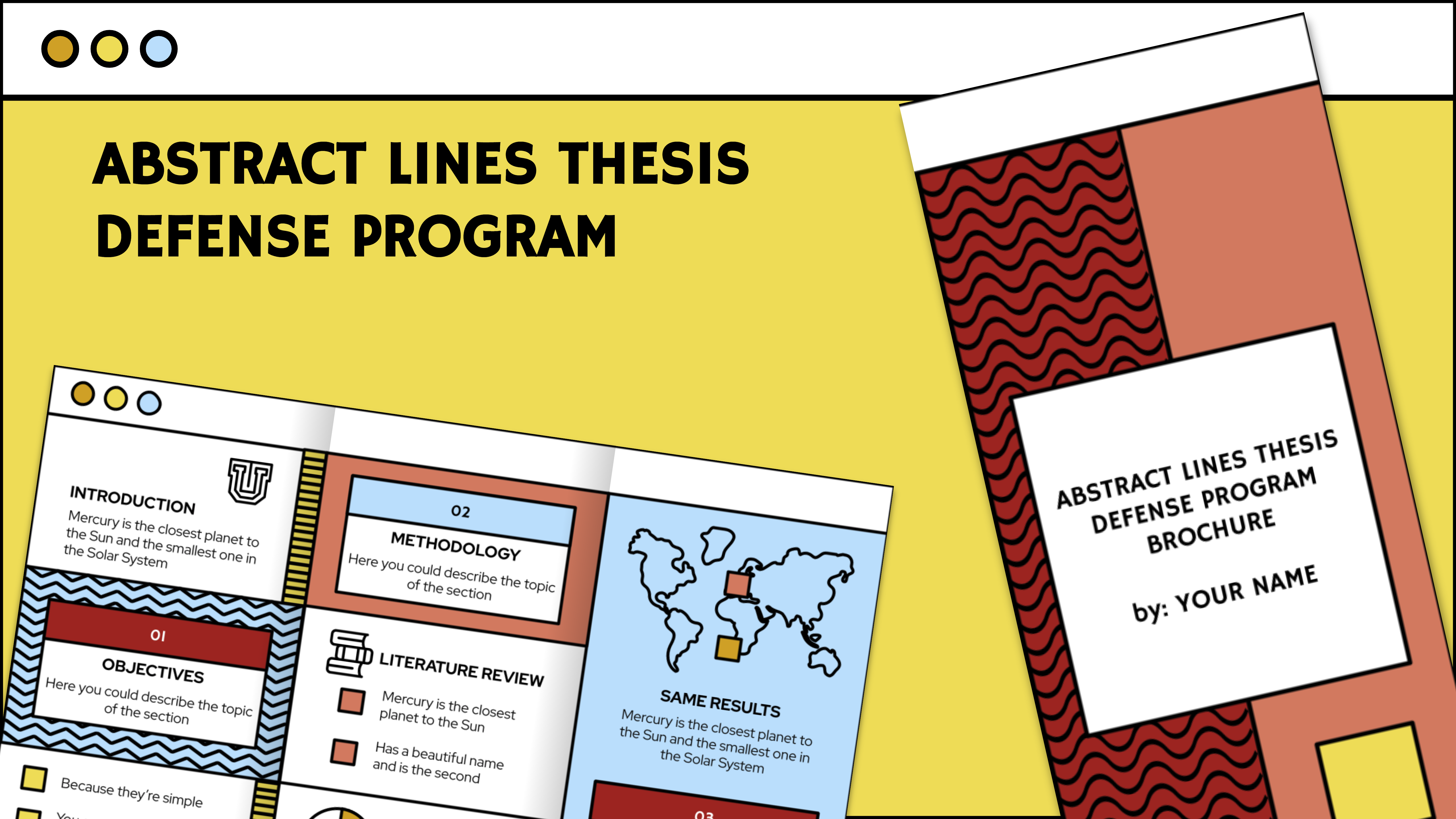 Abstract Lines Thesis Defense Program Brochure presentation template