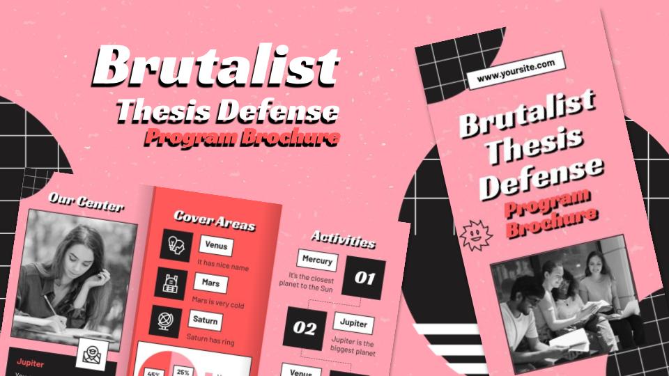 Brochure brutaliste pour une soutenance de thèse : Modèles de présentation