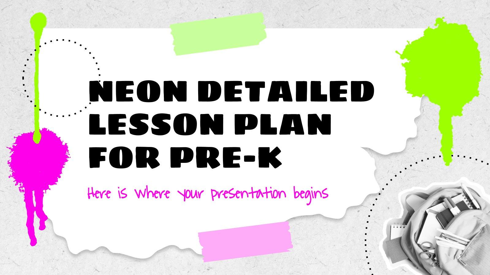 Modelo de apresentação Plano de aula detalhado de néon para pré-escola
