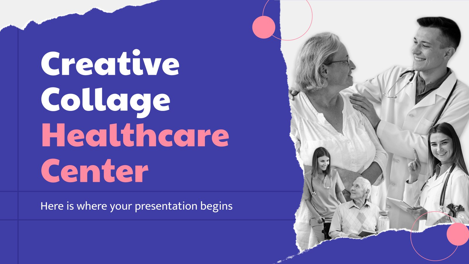 Modelo de apresentação Centro de saúde e colagem criativa