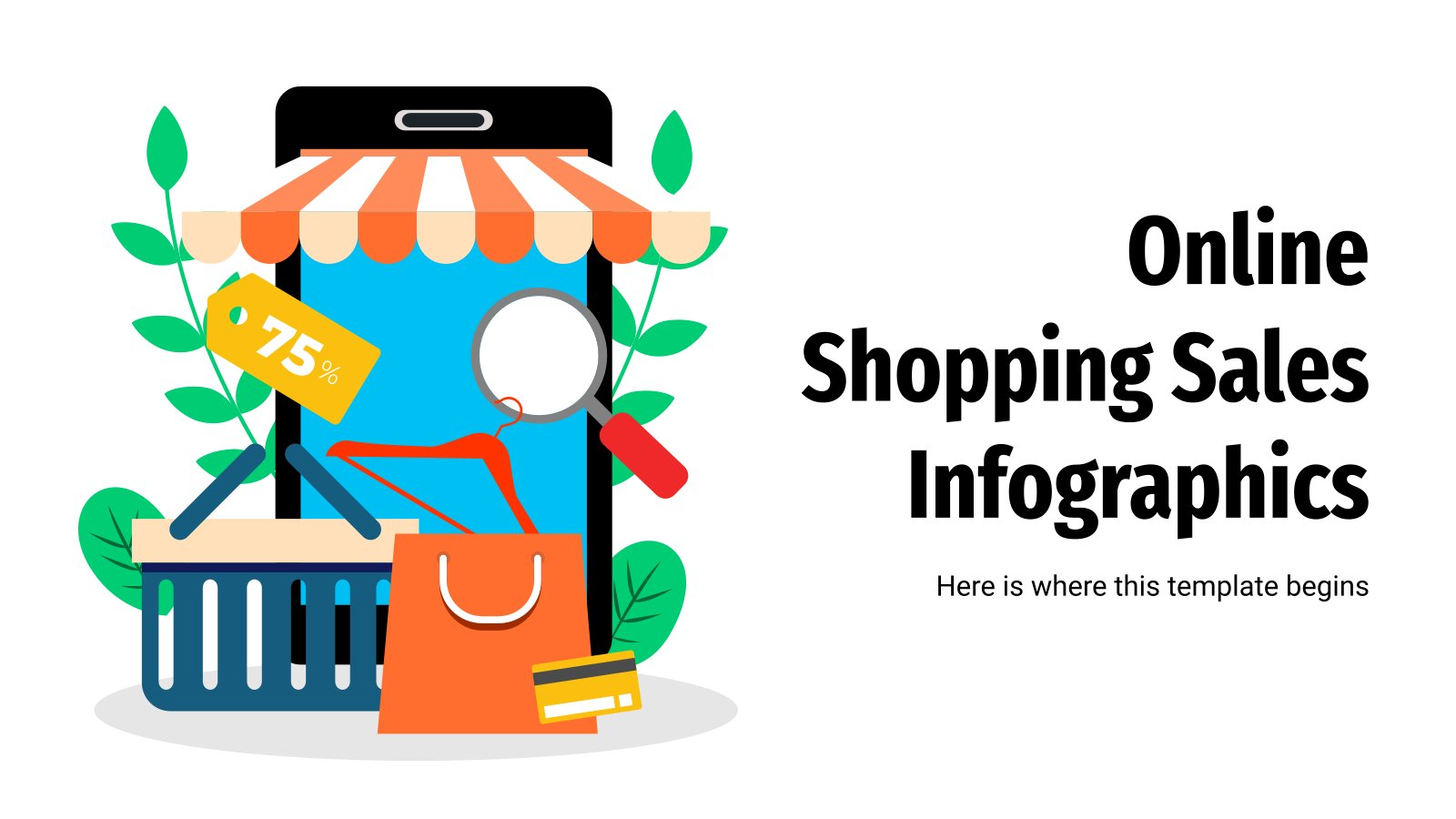 Online Shopping Sales Infographics presentation template