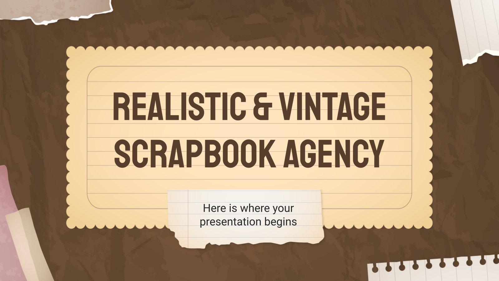 Modelo de apresentação Agência e scrapbook realista e vintage