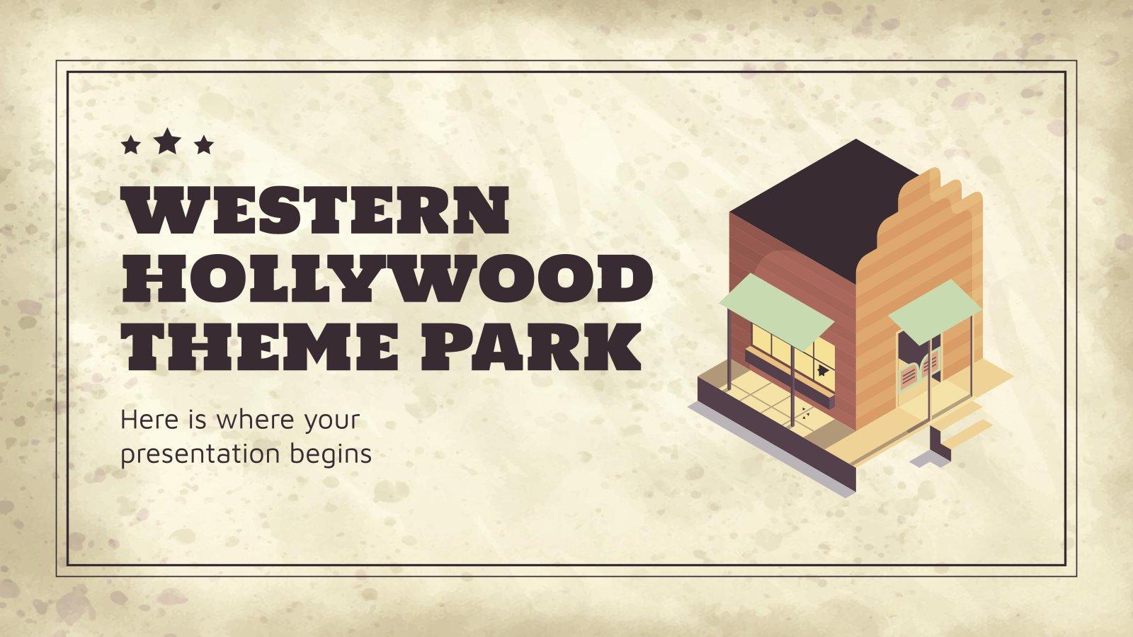 Modelo de apresentação Minitema de parque temático do Velho Oeste