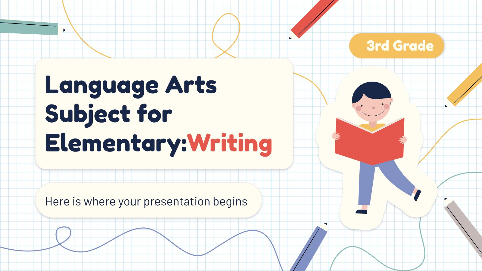 Plantilla de presentación Lengua para primaria: Escritura