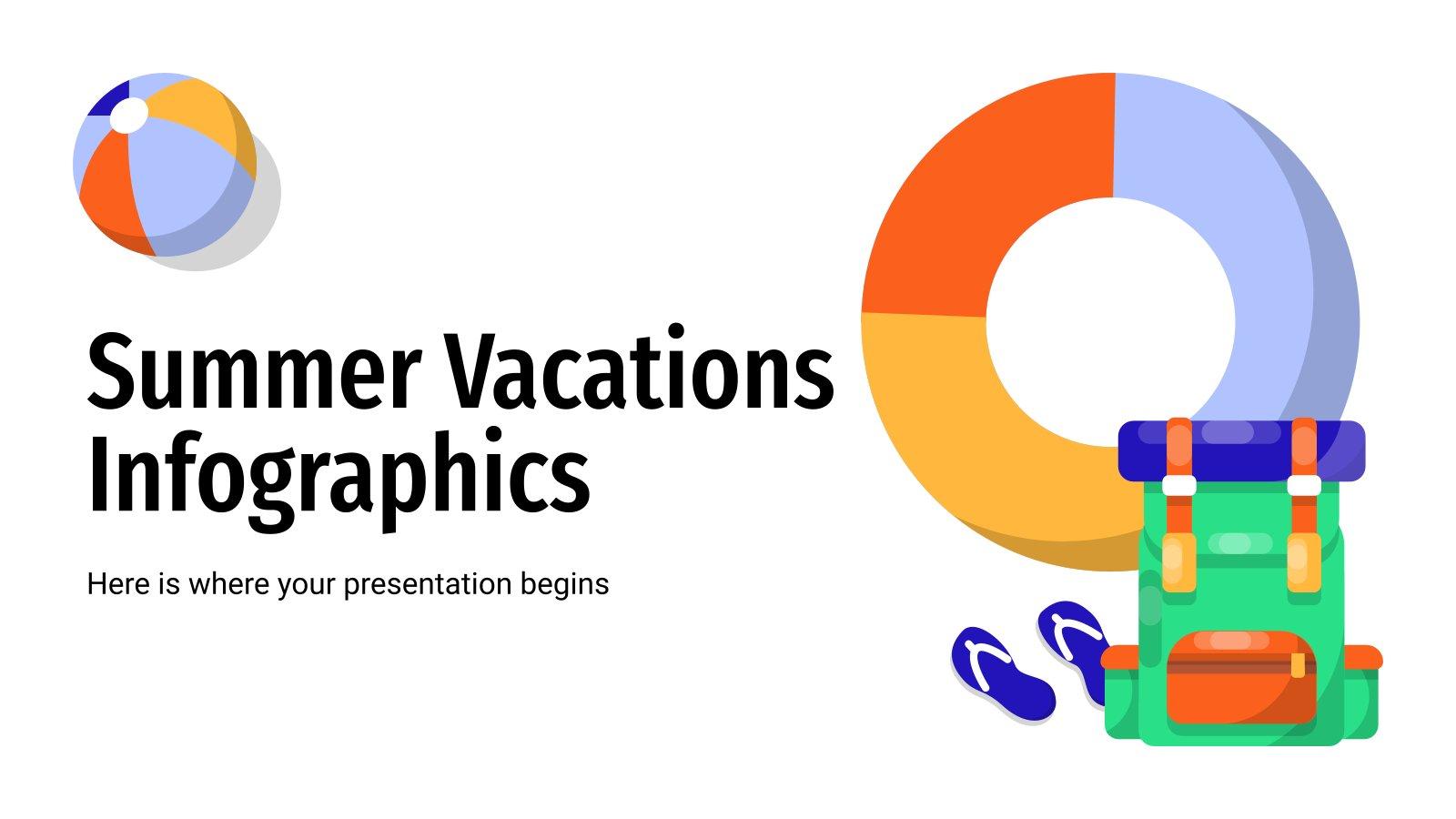Modelo de apresentação Infográficos de férias de verão