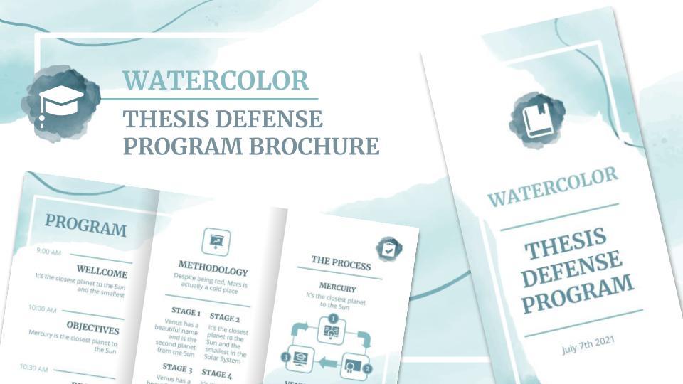 Watercolor Thesis Defense Program Brochure presentation template