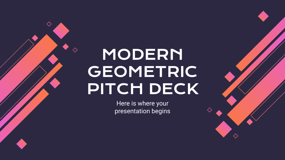 Modernes, geometrisches Pitch Deck. Präsentationsvorlage
