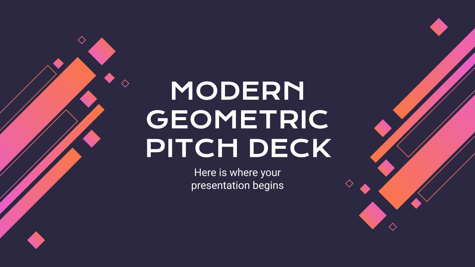 Modelo de apresentação Pitch deck moderno e geométrico