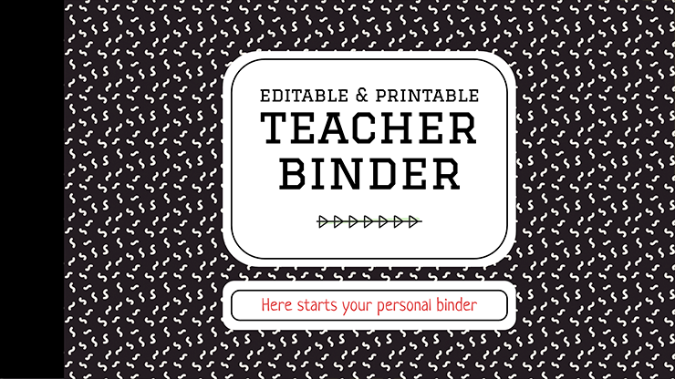 Plantilla de presentación Archivador editable e imprimible para docentes