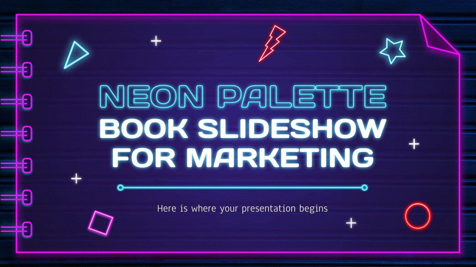 Neon Palette Book Slideshow for Marketing presentation template
