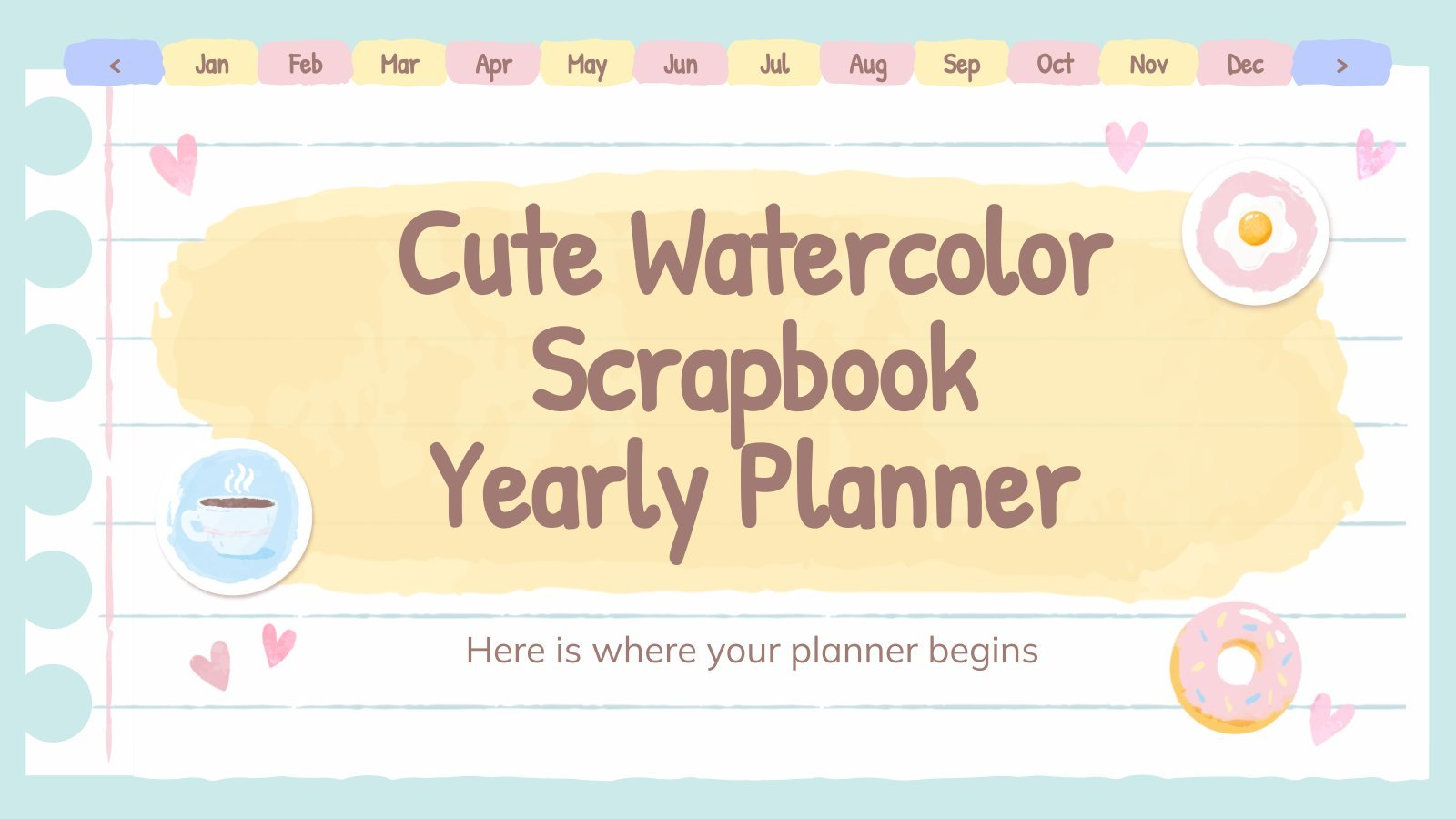 Cute Watercolor Scrapbook Yearly Planner presentation template