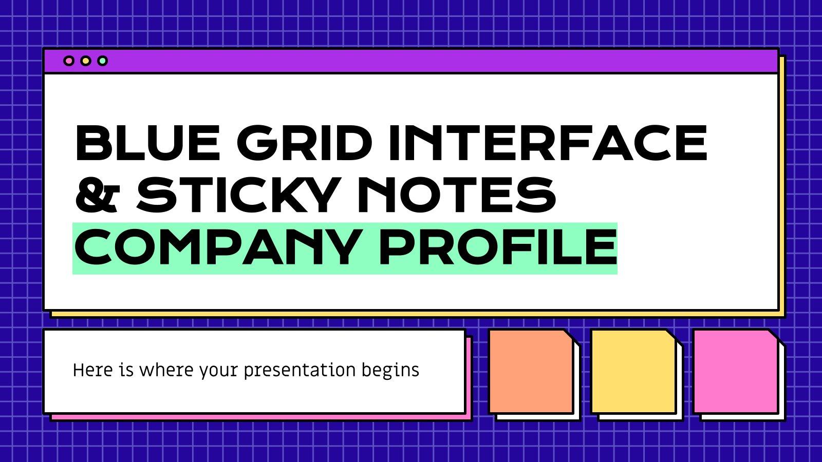 Plantilla de presentación Perfil de empresa con interfaz azul y notas adhesivas