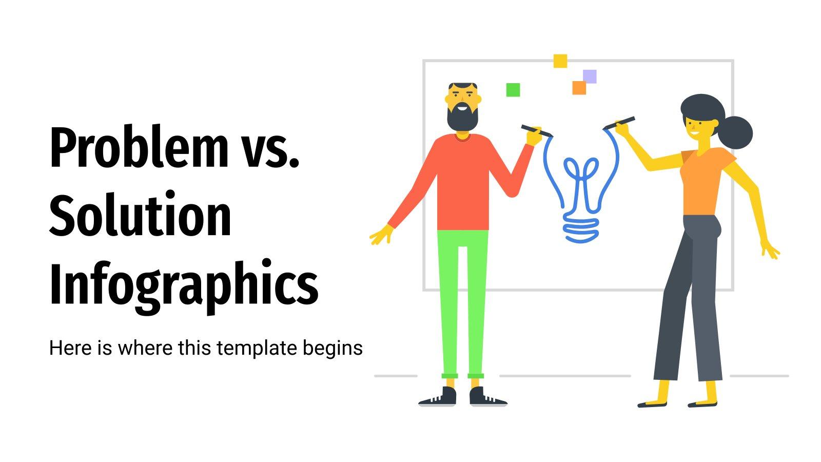 Modelo de apresentação Infográficos de problemas vs. soluções