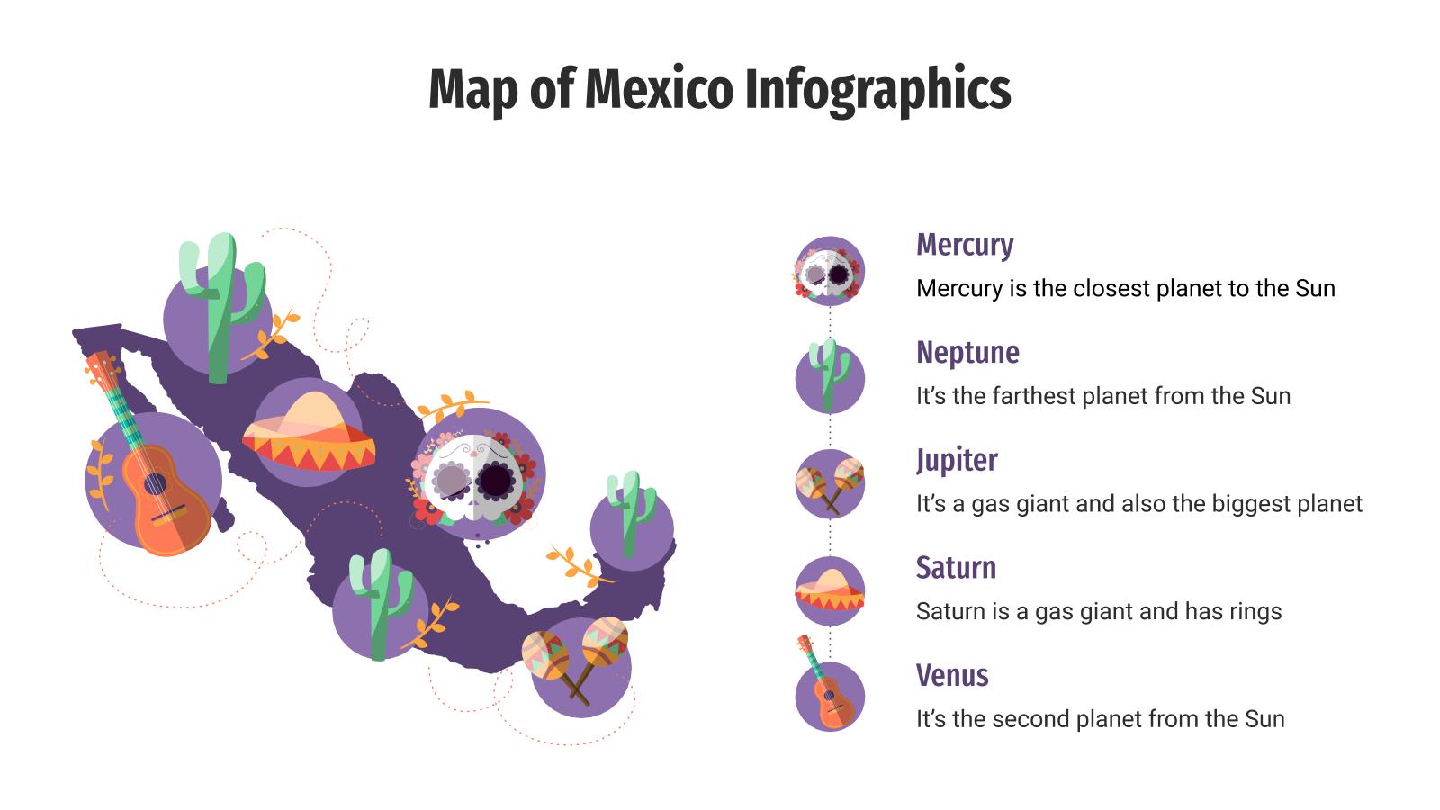 Infographies de carte du Mexique : Modèles de présentation