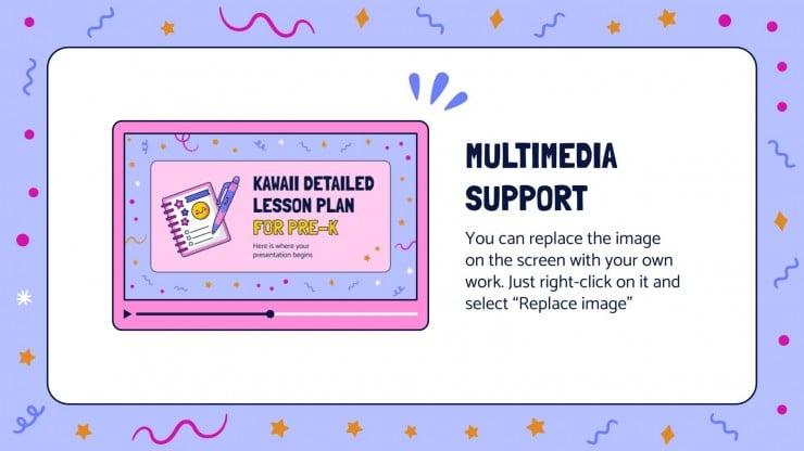 Modelo de apresentação Plano detalhado kawaii de aulas para pré-escola