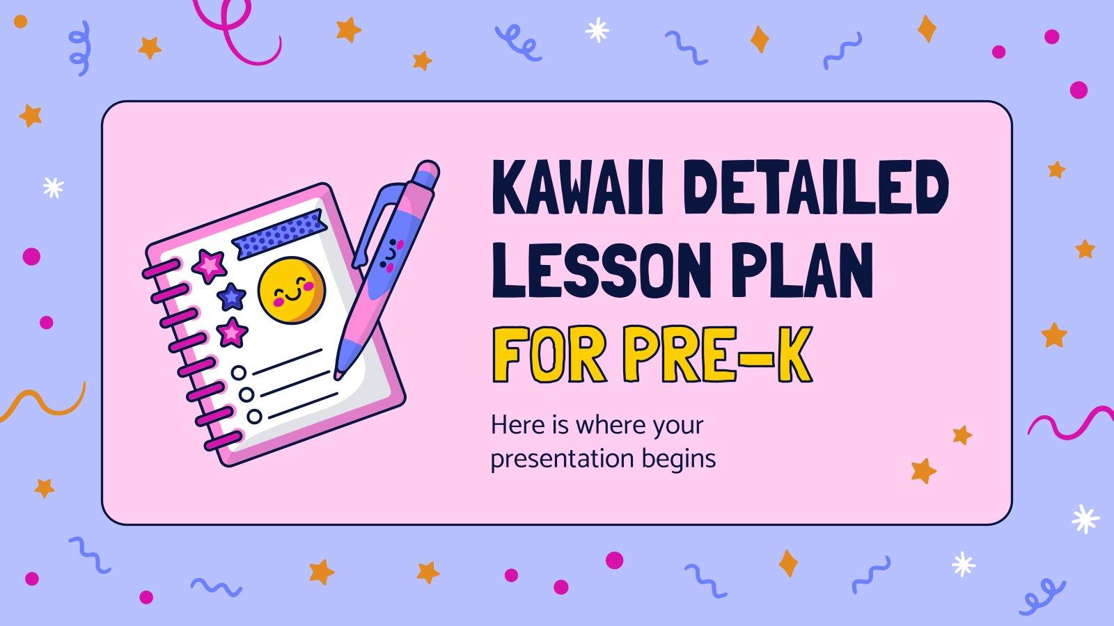 Vorschule: Unterrichtspläne im Kawaii-Stil Präsentationsvorlage