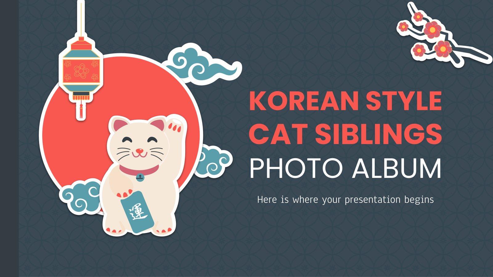 Modelo de apresentação Álbum de fotos de gatos irmãos em estilo coreano