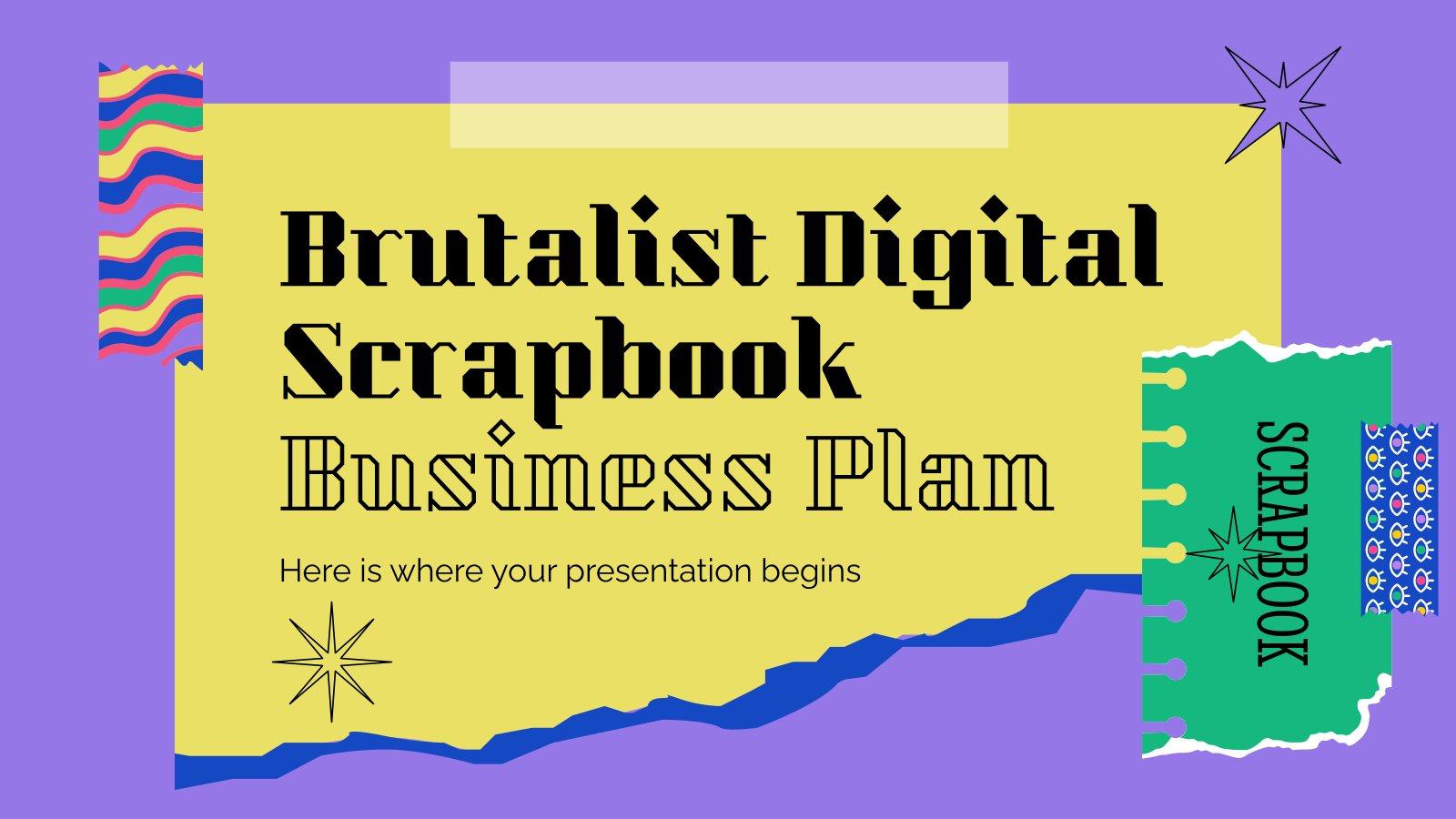 Modelo de apresentação Plano de negócios digital brutalista de scrapbook