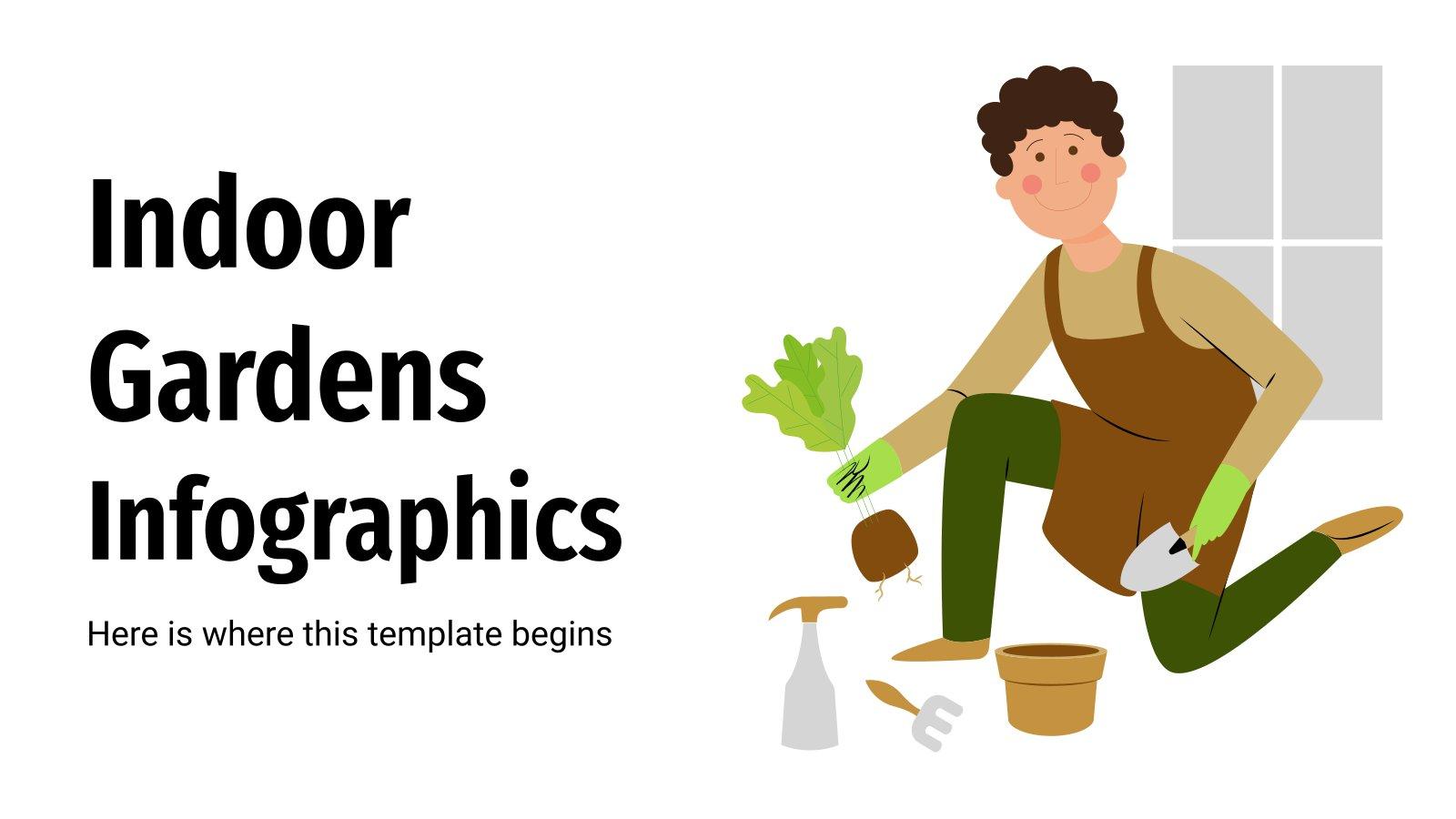 Modelo de apresentação Infográficos de jardins de interior