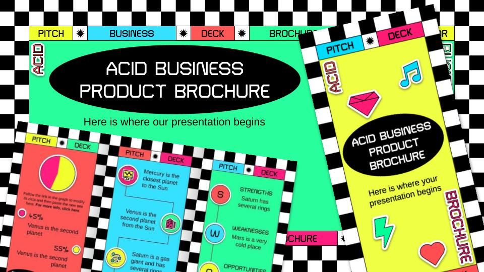 Brochure pour un produit en style acid : Modèles de présentation