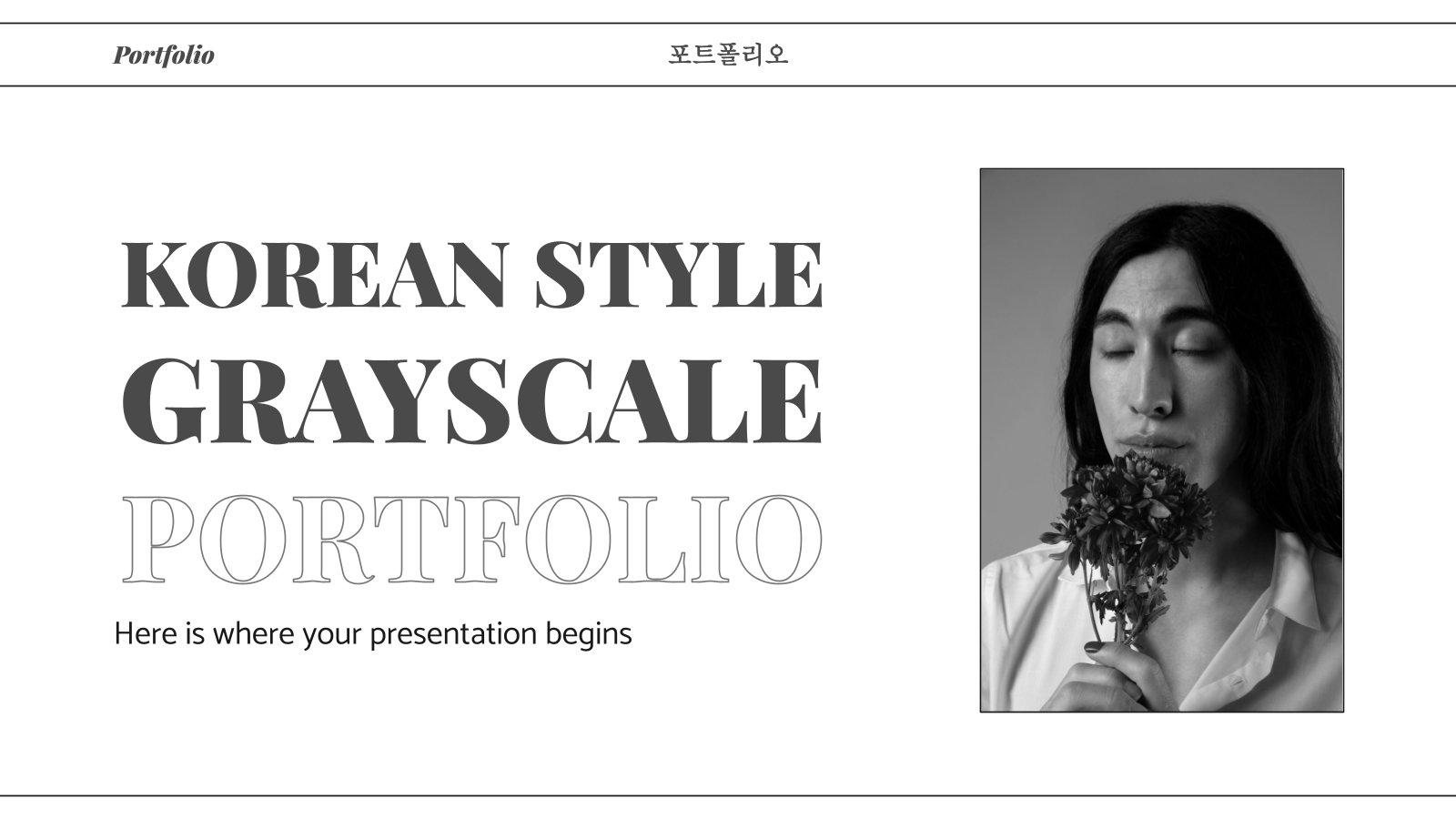 Graustufen-Portfolio im koreanischen Stil Präsentationsvorlage