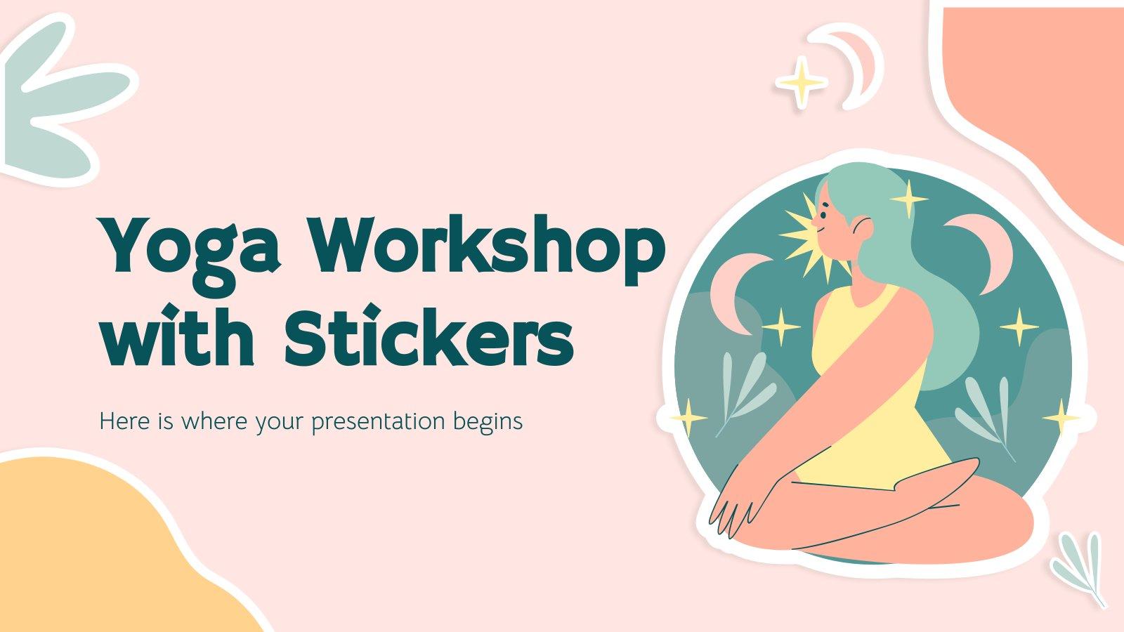 Yoga-Workshop mit Aufklebern Präsentationsvorlage
