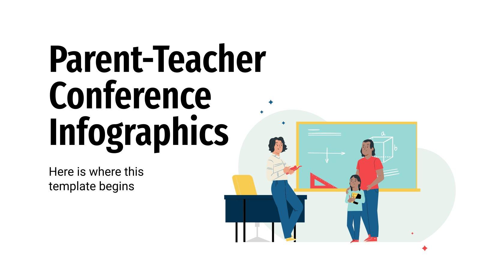 Modelo de apresentação Infográficos de conferência pai-professor